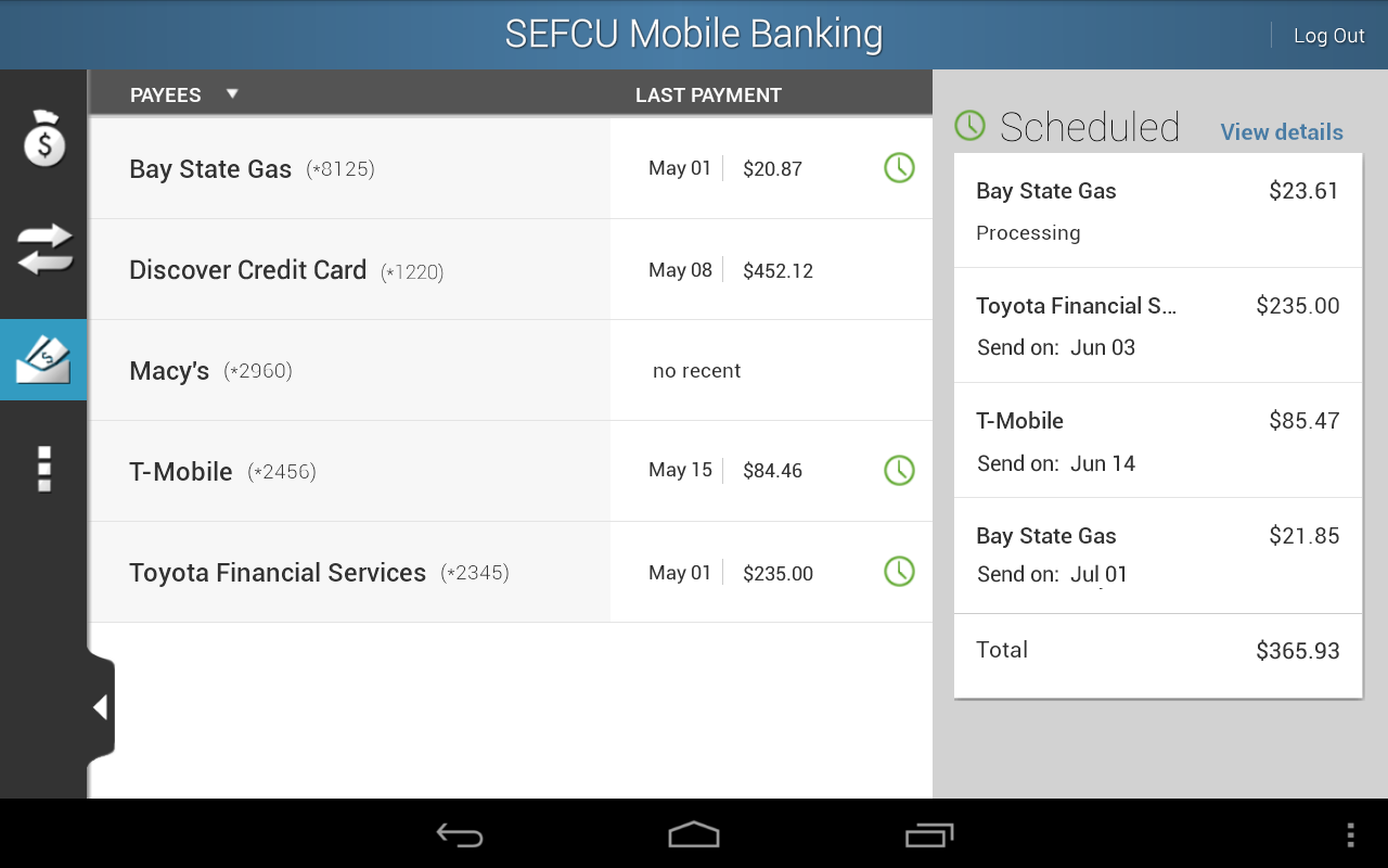 SEFCU Mobile Banking - screenshot