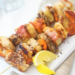 Monkfish, Scallop And Bacon Skewers.