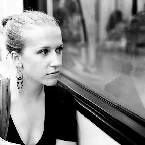 Commuting with One's self.  by Mauricio Alas - Black & White Portraits & People ( #portrait #woman #black #white )