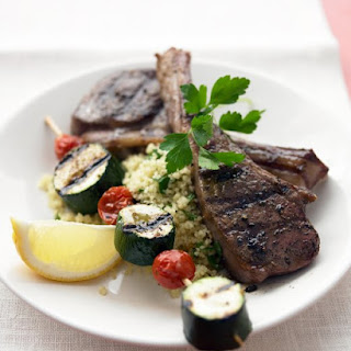 Grilled Lamb Chops and Vegetable Kebabs.