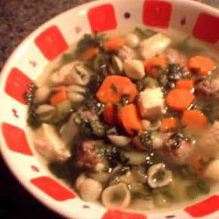 Beef Chicken and Spinach Soup.