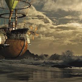 Floating by Helmut Schillinger - Illustration Sci Fi & Fantasy ( fantasy, ship, floating, beach, steampunk )