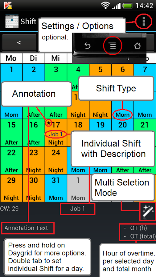 Shift Calendar (Shift Roster) - screenshot