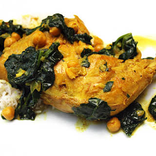 Indian Spiced Chicken Legs with Chick Peas & Spinach.