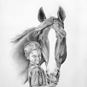 Momma's Boys by Alicia McNally - Drawing All Drawing ( drawing people, horses, pencil portrait, horse, pencil drawing, drawing )
