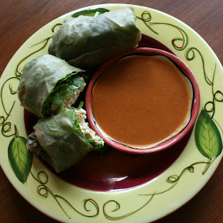 Tofu Spring Rolls with Peanut Dipping Sauce.