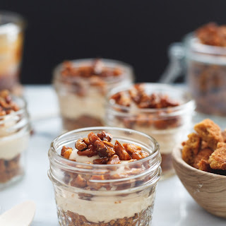 No Bake Caramel Cheesecake Mousse with Candied Walnuts