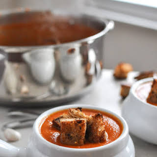 Creamy Tomato Soup with Brown Butter Garlic Croutons.