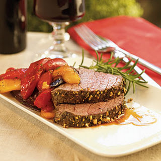 Rosemary Beef Tenderloin with Balsamic Peppers.