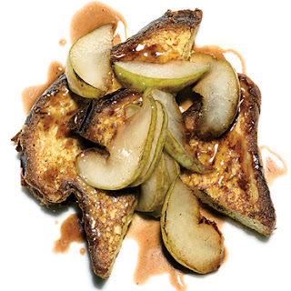 French Toast with Pears and Pomegranate Sauce