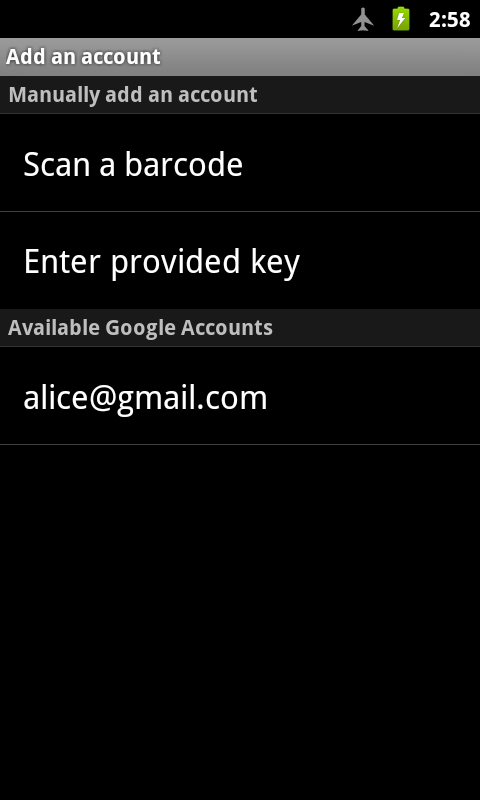 Google Authenticator - screenshot