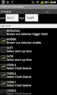 AVR Fuse Calculator - μικρογραφία στιγμιότυπου οθόνης