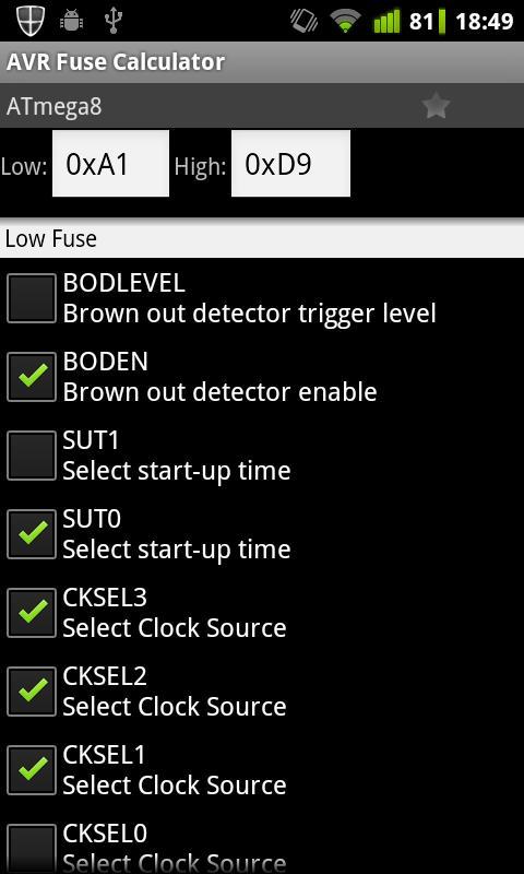 AVR Fuse Calculator - στιγμιότυπο οθόνης