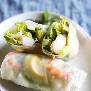 Shrimp and Avocado Summer Salad Rolls.