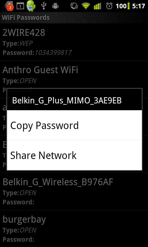 WiFi Passwords (requires root)- screenshot