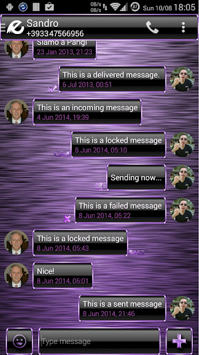 Theme Frame Purple for SMS