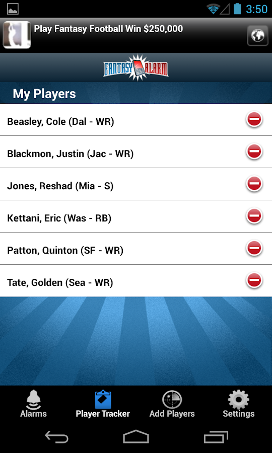 FantasyAlarm Fantasy Football - screenshot