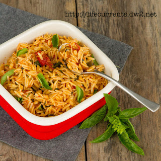 Orzo with Balsamic Tomatoes and Basil.