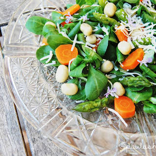 Deluxe Salad: Asparagus, Carrot, Baby Broad Beans And Cheese.