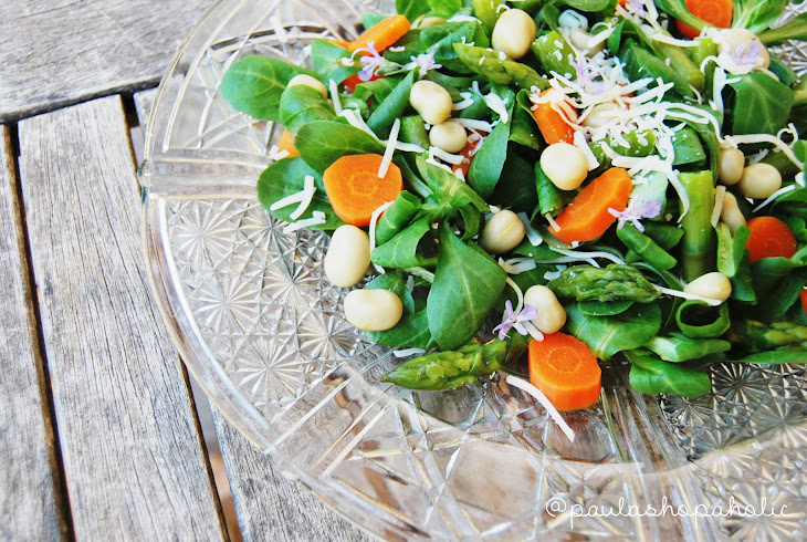 Deluxe Salad: Asparagus, Carrot, Baby Broad Beans and Cheese Recipe