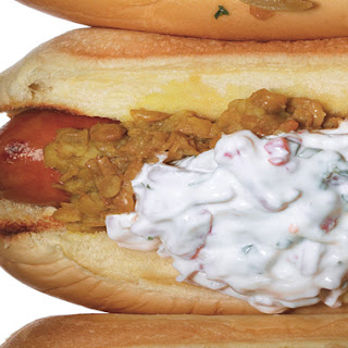 Hot Dogs with Dal and Red-Onion Raita