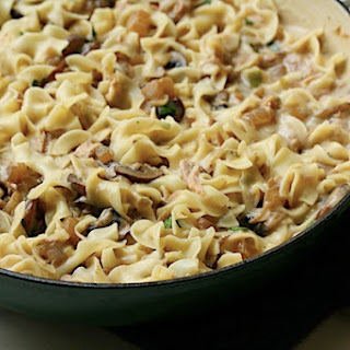 Upscale Tuna Noodle Casserole with Cremini Mushrooms and Scallions