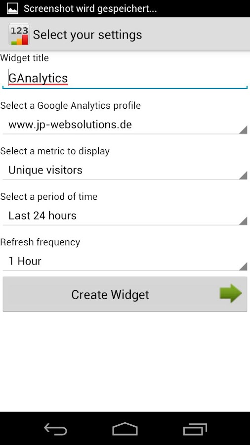 Analytics Widget - screenshot