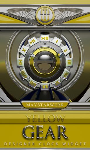 Clock Widget Yellow Gear