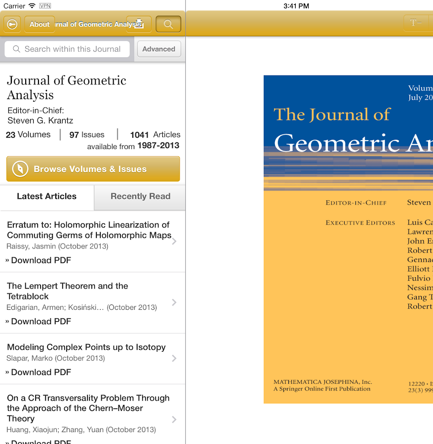 Journal of Geometric Analysis- screenshot