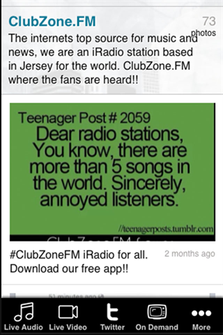 ClubZoneFM app- screenshot