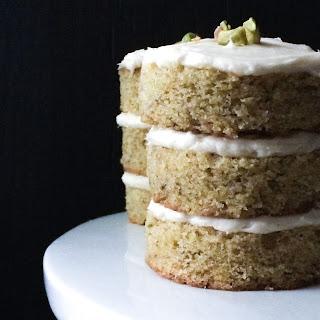 Pistachio Mini Cakes with Honey Cream Cheese Frosting.