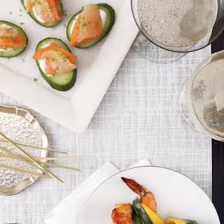 Gravlax on Cucumbers with Chive Yogurt.