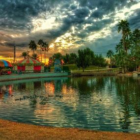 Freestone Park  by Deb Bulger - Uncategorized All Uncategorized ( hdr, ducks, monsoon storm, entertainment, urban park, golden hour )