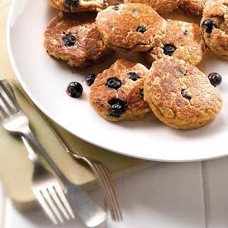Mini Blueberry Buckwheat Ricotta Dessert Pancakes.