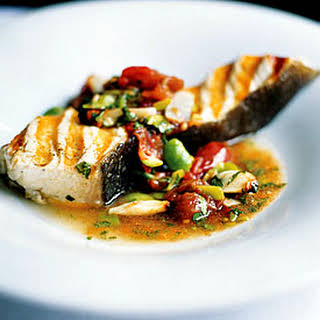 Grilled Halibut with Lima Bean and Roasted Tomato Sauce.