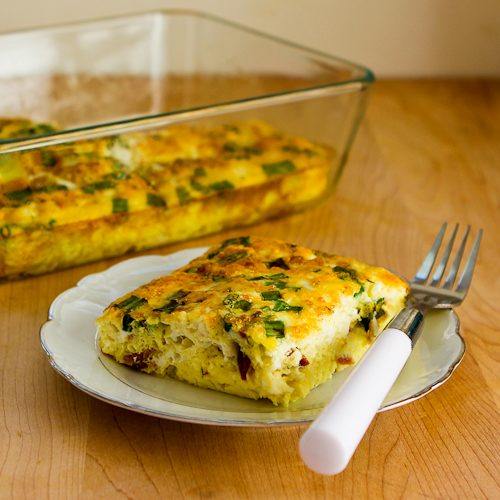 Broken Arm Breakfast Casserole with Cottage Cheese, Bacon, Feta, and Green Onions Recipe