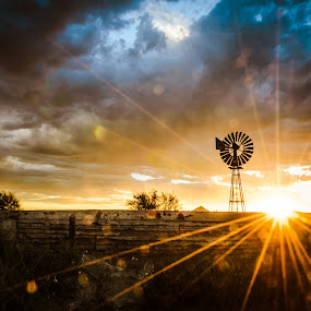 Magical sunset by Anoesjka Botes - Landscapes Sunsets & Sunrises ( clouds, karoo, sunset, windmill )