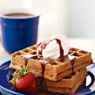 Waffles with Chocolate Malted Syrup.