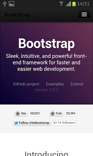 Bootstrap 2.3 docs and example