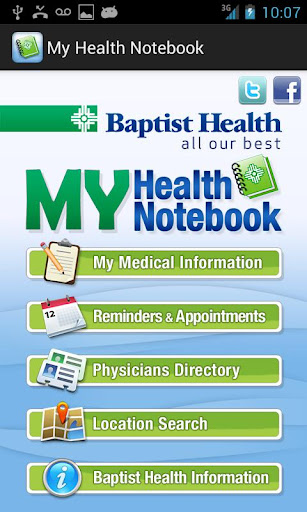 My Baptist Health Notebook