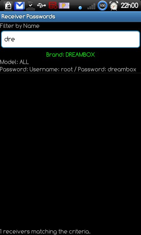 Receiver Passwords - screenshot