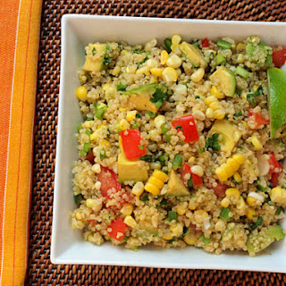 Quinoa with Corn, Tomatoes, Avocado, and Lime.
