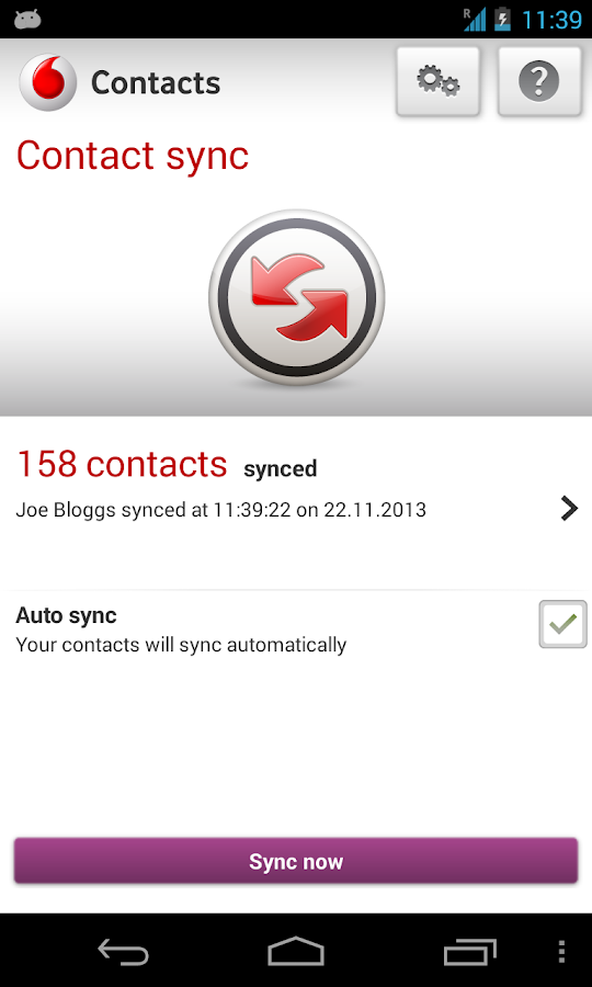 Vodafone Contacts - screenshot