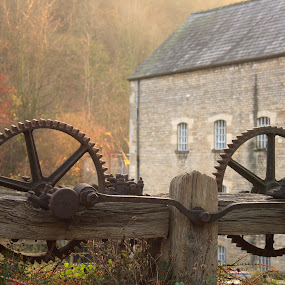 rusty old machinery wheels by Keren Woodgyer - Buildings & Architecture Other Exteriors ( cotton, nobody, machinery, old, stone, rusty, architecture, landscape, industrial revolution, photography, cotswold, mill, gear, sunny, cog wheels, sunshine, industry, wool, georgian, building, overgrown, afternoon, windows, history, factory, english, abandoned )
