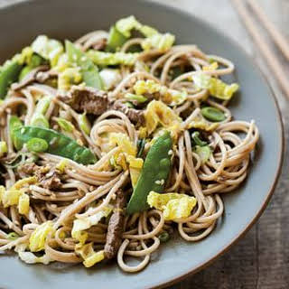 Stir-Fried Soba Noodles with Beef and Cabbage.