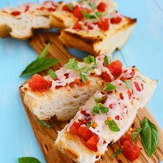 Mozzarella Tomato Basil Bruschetta.