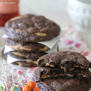 Chocolate Fudge Peanut Butter Cookie Stuffed Cookies.