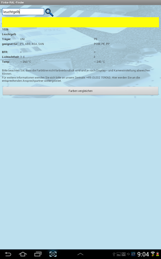 Finke-RAL-Finder – Screenshot