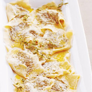 Ravioli Stuffed with Kale, Prosciutto, and Marjoram.