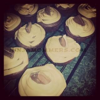 Stuffed Chocolate Cupcakes with Caramel Icing